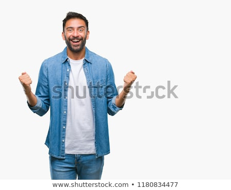 indian man celebrating victory Stock photo © dolgachov