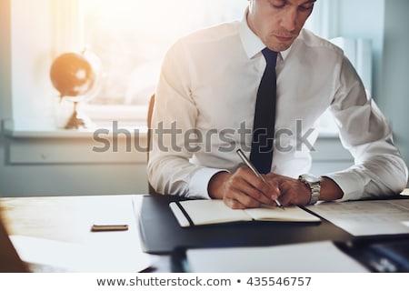 Jovem bonito advogado trabalhando escritório feliz Foto stock © Elnur