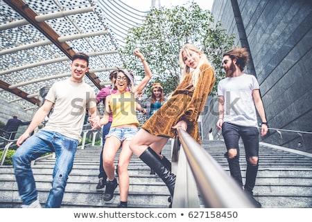 Amigos diversão cidade ao ar livre três Foto stock © Lopolo