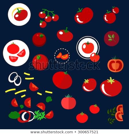 Verde ramo vermelho tomates cereja ícone isolado Foto stock © MarySan