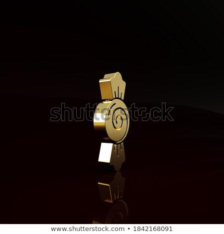 Croissant ícone marrom listrado assinar café da manhã Foto stock © cidepix