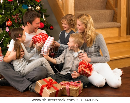 Famiglia felice Natale mamma papà figlio decorazioni Foto d'archivio © galitskaya