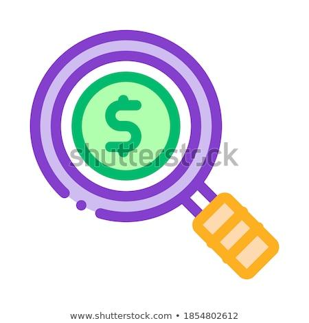 Dollarzeichen Lupe Glas Zentrum Vektor Symbol Stock foto © pikepicture