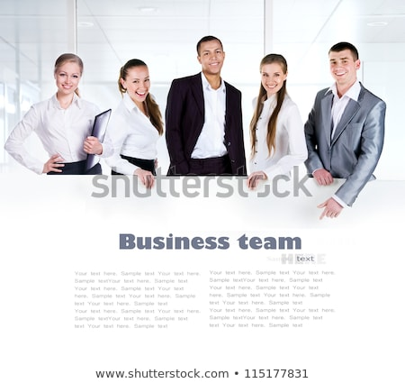 Confident businessman with white empty panel. Stock photo © lichtmeister