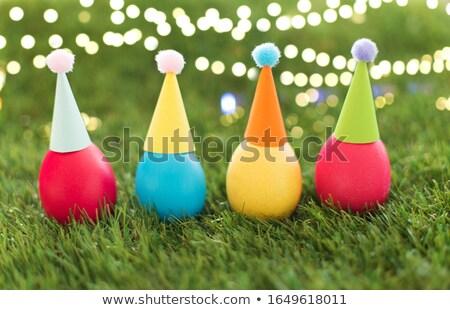 œufs de Pâques fête herbe artificielle Pâques vacances Photo stock © dolgachov
