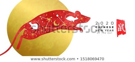 Ano novo chinês rato bandeira aquarela asiático arte Foto stock © cienpies