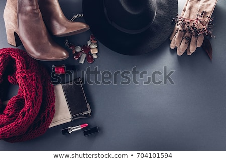 Autumn female outfit. Set of clothes, shoes and accessories on gray background Stock photo © Virgin