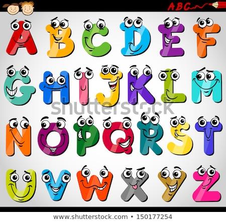 образовательный · Cartoon · алфавит · дети · страница · черно · белые - Сток-фото © izakowski