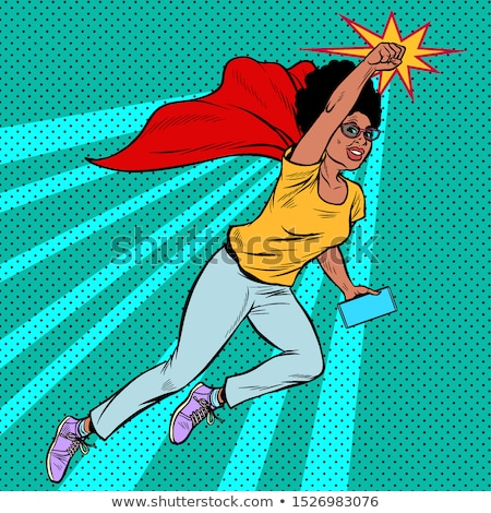 superhero flying active strong Woman grandmother pensioner elderly lady Stock photo © studiostoks