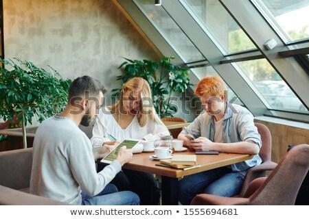 Dwa młodych mężczyzn mądry dziewczyna Zdjęcia stock © pressmaster