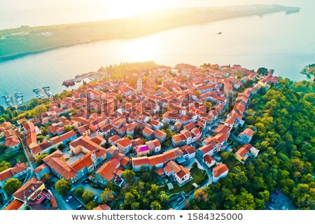 Town of Omisalj on Krk island aerial epic sunset view Stock photo © xbrchx