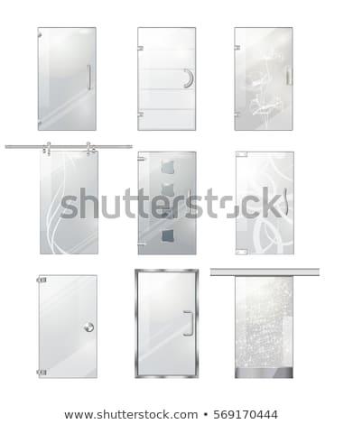 Szkła drzwi srebrny uchwyt wektora stylu Zdjęcia stock © pikepicture