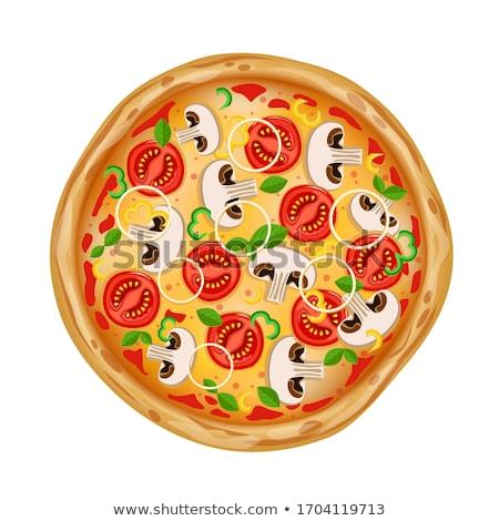 Vegetarier italienisch Pizza Plakat Vektor Stock foto © pikepicture