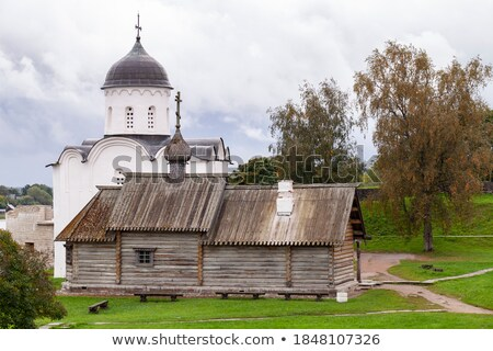 Houten kapel Rusland gebouw kruis Stockfoto © borisb17