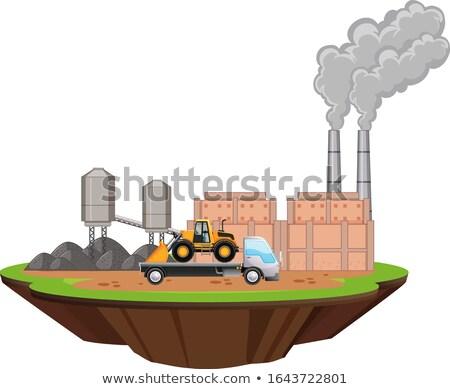 Scena fabbrica edifici bulldozer illustrazione Foto d'archivio © bluering