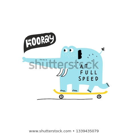 Skateboarding elephant Stock photo © Clivia
