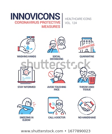Coronavirus protective measures - line design style icons Stock photo © Decorwithme