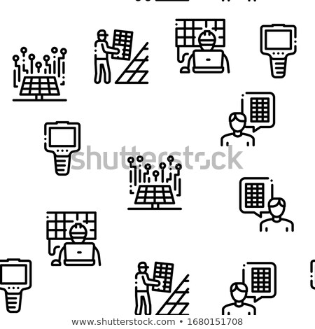 Zonne-energie vector dun lijn illustraties Stockfoto © pikepicture