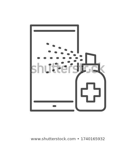 Smartphone disinfection related vector thin line icon. Stock photo © smoki
