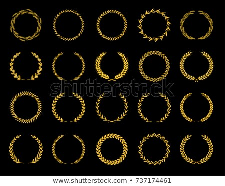 Collection of different golden silhouette circular laurel foliate, wheat and oak wreaths depicting a Stock photo © designer_things