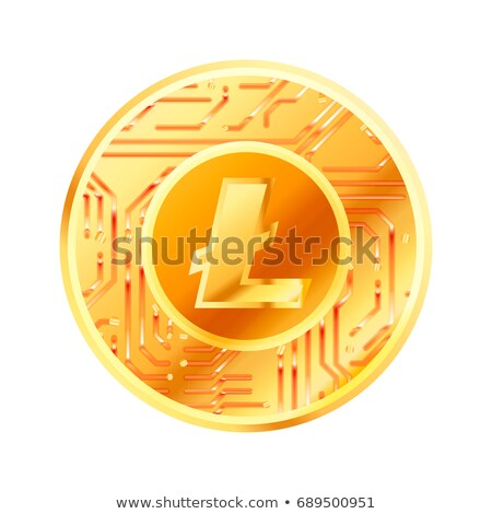 Bright golden coin with microchip pattern and Monero sign. Cryptocurrency concept on white Stock photo © evgeny89