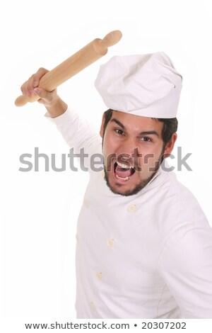mad · kucharz · wałkiem · biały · restauracji · zabawy - zdjęcia stock © vladacanon