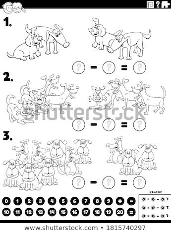 subtraction educational task with animals color book page Stock photo © izakowski