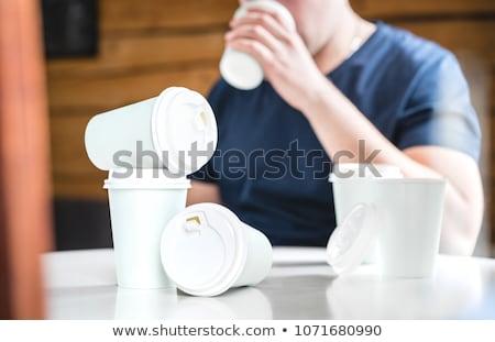 Kahve bağımlı el metin etrafında karikatür Stok fotoğraf © zsooofija