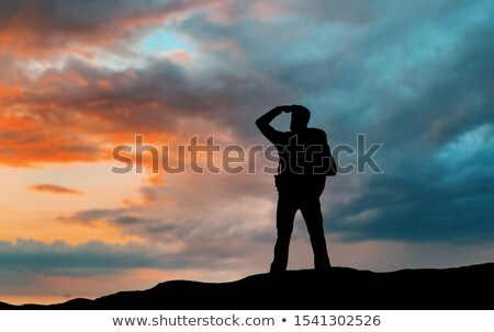 silhouette of tourist looking far away over sunset Stock photo © dolgachov