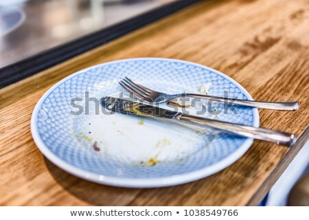 Empty plate after finished meal at restaurant - fork and knife resting on done dinner with crumbs at Stock photo © Maridav