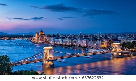 Stockfoto: Boedapest · skyline · nacht · keten · brug