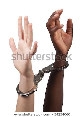 Megbilincselve kaukázusi férfi afroamerikai nő együtt Stock fotó © poco_bw