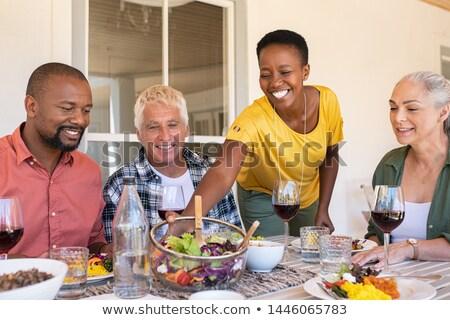 Сток-фото: счастливым · еды · старший · женщину · чаши · саду