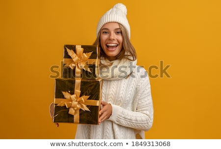 Cute Christmas Woman with gift isolated on white 