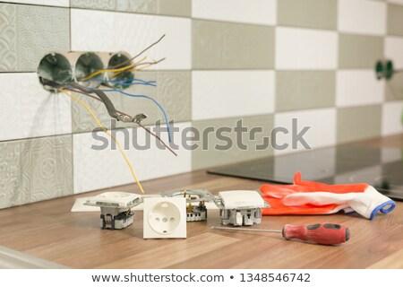 elektomos · csapat · fal · férfi · munka · otthon - stock fotó © photography33