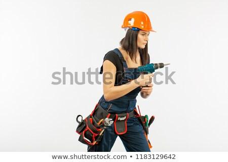 Stok fotoğraf: Kadın · elektrikçi · güç · matkap · ev · kız
