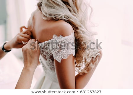 gorgeous blonde in lace dress Stock photo © yurok