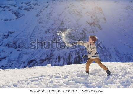 walking boy in snow stock photo © h2o