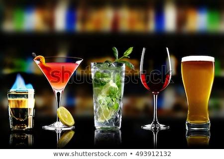 koktajl · szkła · kolekcja · piwo · jasne · pełne · piwa · odizolowany - zdjęcia stock © karandaev