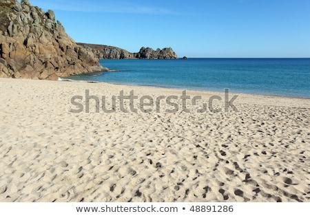 Homokos tengerpart kő Cornwall égbolt óceán kék Stock fotó © latent