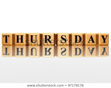 Stock photo: thursday in 3d golden cubes