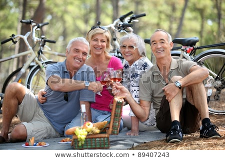 Сток-фото: Two Older Couples Enjoying A Picnic In The Woods
