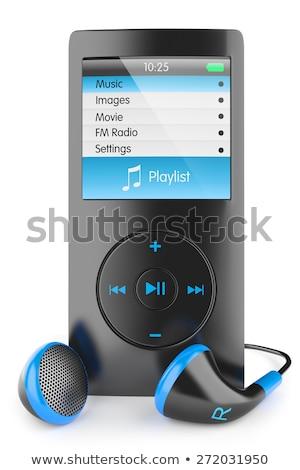 hoofdtelefoon · geïsoleerd · witte · technologie · achtergrond · Rood - stockfoto © artjazz