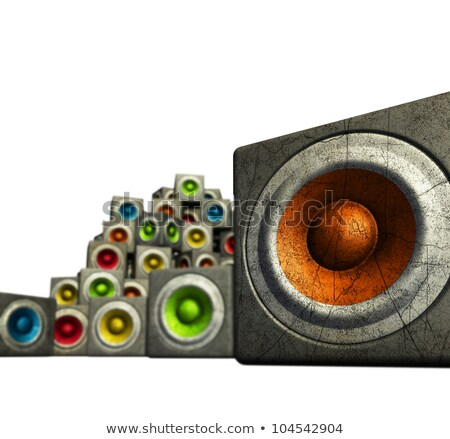 3d pile multiple color cubic sound system woofer on white  Stock photo © Melvin07