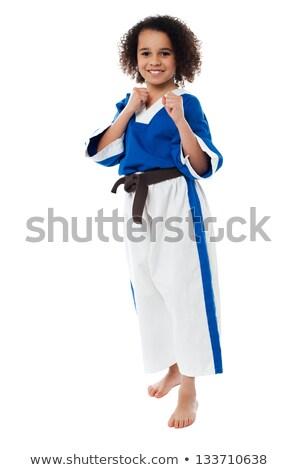 Klaar actie aantrekkelijk meisje tijd Stockfoto © stockyimages