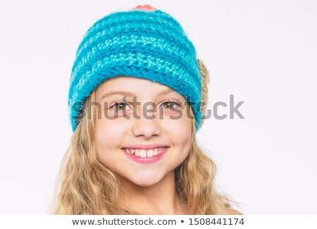 knitted wool hat with a pattern of little faces Stock photo © RuslanOmega