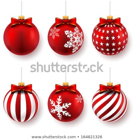 Stock fotó: Piros · arany · hópehely · karácsony · golyók
