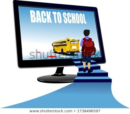 Estudante em cima ônibus escolar de volta à escola vetor criança Foto stock © leonido