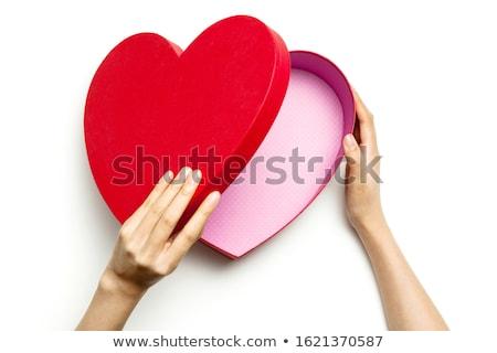 Fényes szív ajándék doboz ajándék csomag nyitva Stock fotó © Pixelchaos