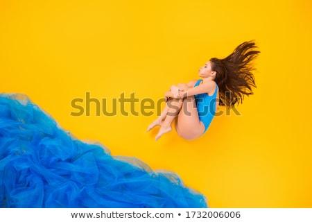 portret · sexy · jonge · brunette · zwembad · vrouw - stockfoto © acidgrey
